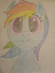 Size: 1000x1333 | Tagged: artist:notawriteranon, bust, colored pencil drawing, /mlp/, pony, portrait, rainbow dash, safe, simple background, traditional art