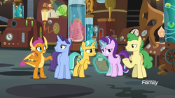 Size: 1920x1080 | Tagged: safe, screencap, citrine spark, fire quacker, huckleberry, november rain, smolder, squirk, starlight glimmer, dragon, octopus, pegasus, pony, unicorn, a horse shoe-in, spoiler:s09e20, claws, clipboard, discovery family logo, doctor who, doctor whooves' lab, dragoness, eye contact, female, flameless fireworks, friendship student, gesture, glowing horn, horn, laboratory, looking at each other, magic, magic aura, male, mare, pencil, raised hoof, shrug, stallion, teenager, telekinesis, the face of boe
