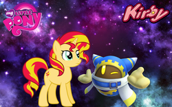 Size: 1440x900 | Tagged: safe, artist:arcgaming91, artist:jhayarr23, artist:tardifice, sunset shimmer, pony, unicorn, crossover, female, kirby, kirby star allies, magolor, mare, my little pony logo, nintendo, video game