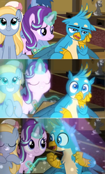 Size: 1600x2656 | Tagged: a horse shoe-in, background pony, blues, bored, clipboard, comic, cute, dark moon, edit, edited screencap, excited, female, friendship student, fuchsia frost, gallabetes, gallus, glow, goldy wings, graphite, griffon, levitation, lights, magic, magic aura, male, mare, noteworthy, pony, rave, safe, screencap, screencap comic, seat, sitting, spoiler:s09e20, starlight glimmer, suddenly, teenager, telekinesis, unicorn