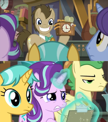 Size: 1600x1800 | Tagged: safe, screencap, doctor whooves, huckleberry, november rain, starlight glimmer, time turner, pony, a horse shoe-in, spoiler:s09e20, cabinet, clipboard, clock, cringing, friendship student, laboratory, smiling, unamused