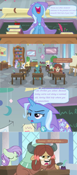 Size: 1600x3588 | Tagged: safe, edit, edited screencap, screencap, huckleberry, starlight glimmer, trixie, yona, a horse shoe-in, spoiler:s09e20, book, bookshelf, cape, chalkboard, clipboard, clothes, comic, desk, dialogue, easel, friendship student, hat, inkwell, periodic table, picture frame, quill, screencap comic, speech bubble, trixie's cape, trixie's hat, unamused, window