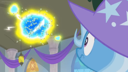 Size: 1600x900 | Tagged: a horse shoe-in, banner, ceiling light, clothes, electricity, flash bee, hat, looking up, oops, pony, safe, screencap, solo, spoiler:s09e20, swarm, trixie, trixie's hat, uh oh