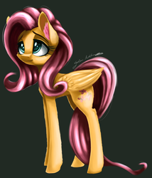 Size: 6000x7000 | Tagged: artist:galinn-arts, big eyes, cute, dark, ear fluff, female, fluttershy, long legs, mare, pegasus, pony, sad, safe, tall
