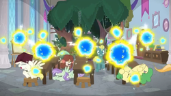Size: 1600x900 | Tagged: safe, screencap, huckleberry, yona, flash bee, a horse shoe-in, spoiler:s09e20, attack, banner, book, cabinet, chaos, desk, ducking, friendship student, panic, picture frame, stool, swarm, tree, window