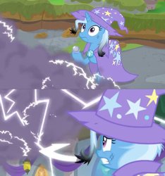 Size: 1600x1706 | Tagged: a horse shoe-in, burnt, cape, ceiling light, clothes, electricity, hat, idiot, pony, safe, scared, screencap, shocking, smoke, smoke bomb, smokescreen, spoiler:s09e20, trixie, trixie's cape, trixie's hat