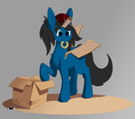 Size: 3218x2847 | Tagged: alicorn, artist:miaowwww, cardboard, cardboard box, cardboard horn, cardboard wings, fake wings, oc, oc:blue pone, pony, safe