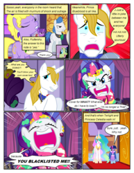 Size: 612x792 | Tagged: alicorn, angry, artist:newbiespud, background pony, clothes, comic, comic:friendship is dragons, confused, dialogue, dress, earth pony, edited screencap, ethereal mane, eyes closed, female, fluttershy, frown, gala dress, hoof shoes, jewelry, male, mare, necklace, pearl necklace, pegasus, pony, princess celestia, rarity, safe, screencap, screencap comic, stallion, the best night ever, tiara, twilight sparkle, unicorn, unicorn twilight, worried