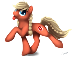Size: 950x728 | Tagged: artist:shemalioness, artist:shema-the-lioness, art trade, cutie mark, denmark, looking at you, nation ponies, oc, oc only, oc:valkyria, ponified, pony, raised hoof, safe, simple background, solo, tongue out, transparent background