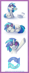 Size: 426x1076 | Tagged: artist:shemalioness, artist:shema-the-lioness, cute, cutie mark, dj pon-3, eating, female, food, glowing horn, horn, magic, mare, muffin, pony, safe, sitting, sleeping, smiling, solo, telekinesis, unicorn, vinylbetes, vinyl scratch