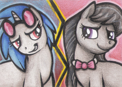 Size: 350x250 | Tagged: artist:shemalioness, artist:shema-the-lioness, dj pon-3, earth pony, female, lesbian, looking at each other, mare, octavia melody, pony, safe, scratchtavia, shipping, smiling, traditional art, unicorn, vinyl scratch