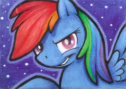 Size: 350x246 | Tagged: artist:shemalioness, artist:shema-the-lioness, female, grin, looking at you, mare, narrowed eyes, pegasus, pony, rainbow dash, safe, smiling, solo, traditional art