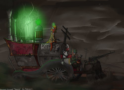 Size: 1800x1300 | Tagged: safe, artist:borsch-zebrovich, pony, fallout equestria, gun, machine, super speedy cider squeezy 6000, vehicle, wasteland, weapon