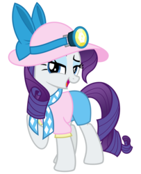 Size: 2600x3200 | Tagged: safe, artist:cheezedoodle96, rarity, pony, unicorn, dragon dropped, .svg available, bow, bowtie, clothes, female, hat, looking at you, magic, mare, necktie, open mouth, raised eyebrow, raised hoof, shirt, shorts, simple background, solo, sun hat, svg, telekinesis, transparent background, vector
