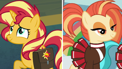 Size: 632x358 | Tagged: 2 4 6 greaaat, cheerleader, comparison, edit, equestria girls, equestria girls series, female, forgotten friendship, mare, pony, saddle bag, safe, screencap, shimmy shake, spoiler:s09e15, sunset shimmer