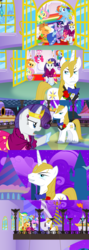 Size: 1460x4106   Tagged: safe, alternate version, artist:christhes, applejack, fluttershy, pinkie pie, prince blueblood, rainbow dash, rarity, twilight sparkle, earth pony, pegasus, pony, unicorn, comic:friendship is dragons, angry, bowtie, clothes, collaboration, comic, dress, eyes closed, female, flower, frown, gala dress, jewelry, male, mane six, mare, night, rose, show accurate, smiling, smirk, stallion, stars, tiara, unicorn twilight
