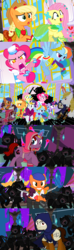 Size: 1920x6480   Tagged: safe, alternate version, artist:christhes, applejack, fluttershy, pinkie pie, prince blueblood, rainbow dash, rarity, twilight sparkle, earth pony, pegasus, pony, unicorn, comic:friendship is dragons, alternate eye color, ambush, baldur's gate, bandana, cloak, clothes, collaboration, comic, crossover, dragon age, dress, female, fight, flower, freckles, gala dress, garrett, glowing horn, grin, hat, horn, horn ring, imoen, isabela, male, mane six, mare, ponified, raised hoof, rose, scared, show accurate, smiling, stallion, surprised, tail wrap, thief (video game), unicorn twilight, worried