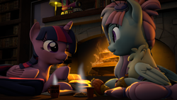 Size: 3840x2160 | Tagged: 3d, alicorn, amputee, artist:alicorntwilysparkle, book, bookshelf, chatting, coffee mug, fireplace, food, french fries, friendship express, kerfuffle, library, mug, pegasus, pony, prosthetic leg, prosthetic limb, prosthetics, safe, source filmmaker, twilight sparkle, twilight sparkle (alicorn)