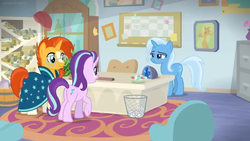 Size: 1600x900 | Tagged: a horse shoe-in, desk cabinet, file cabinet, office, picture frame, pony, rug, safe, screencap, scroll, shelf, spoiler:s09e20, starlight glimmer, starlight's office, sunburst, trixie, vase