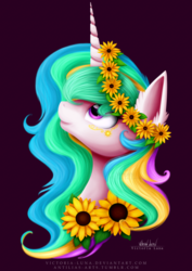 Size: 3507x4960 | Tagged: safe, artist:victoria-luna, princess celestia, alicorn, pony, bust, cute, ear fluff, female, flower, flower in hair, looking up, mare, portrait, profile, smiling, solo, sunflower