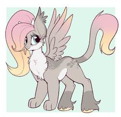 Size: 733x711 | Tagged: artist:lulubell, hybrid, interspecies offspring, oc, oc:fable, offspring, parent:discord, parent:fluttershy, parents:discoshy, safe, solo