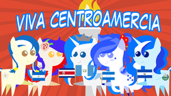 Size: 960x540 | Tagged: artist:archooves, costa rica, costa rican independence day, el salvador, guatemala, guatemalan independence day, honduran independence day, honduras, independence day, nation ponies, needs more saturation, nicaragua, nicaraguan independence day, ponified, pony, safe, salvadoran independence day