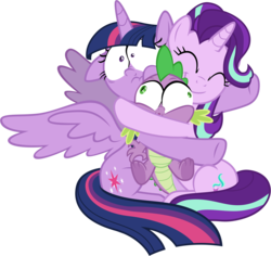 Size: 5919x5578 | Tagged: a horse shoe-in, alicorn, artist:famousmari5, cute, dragon, female, floppy ears, glimmerbetes, hug, male, mare, pony, safe, simple background, small eyes, smiling, spike, spoiler:s09e20, squishy, starlight glimmer, transparent background, twilight sparkle, twilight sparkle (alicorn), underfoot, unicorn, vector, winged spike
