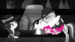 Size: 1299x730 | Tagged: bartender, black and white, detective rarity, earth pony, grayscale, investigator dash, juice jackie, monochrome, partial color, pegasus, pinkie pie, pony, rainbow dash, rarity, safe, screencap, sparkle's seven, spoiler:s09e04, unicorn