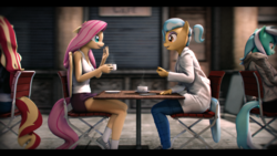 Size: 3840x2160 | Tagged: 3d, 4k resolution, anthro, artist:imafutureguitarhero, black bars, cellphone, chair, chromatic aberration, clothes, coffee, coffee cup, coffee mug, colored eyebrows, commission, conversation, converse, cup, doctor fauna, earth pony, eyeshadow, female, film grain, floppy ears, fluttershy, hoodie, iphone, jacket, jeans, lab coat, laughing, leather jacket, long hair, long mane, lyra heartstrings, makeup, mare, mug, multicolored hair, multicolored mane, multicolored tail, outdoors, pants, pavement, pegasus, phone, plantigrade anthro, ponytail, safe, saucer, shoes, sidewalk, sign, signature, sitting, smartphone, smiling, sneakers, socks, source filmmaker, steam, sunset shimmer, table, talking, tanktop, unicorn, wall of tags