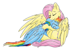 Size: 1432x990 | Tagged: safe, artist:ruushiicz, fluttershy, rainbow dash, pegasus, pony, comforting, crying, duo, eyes closed, female, folded wings, hug, mare, outline, role reversal, simple background, sitting, spread wings, teary eyes, transparent background, white outline, wings