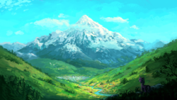 Size: 1920x1080 | Tagged: artist:plainoasis, bird, city, cloud, creek, crystal empire, mountain, pony, river, safe, scenery, scenery porn, sky, snow, snowy mountain, solo, stream, unicorn, valley