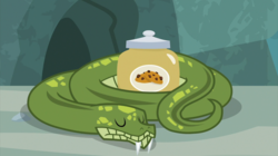 Size: 2100x1180 | Tagged: animal, antoine, cookie, cookie jar, eyes closed, food, jar, python, safe, screencap, she talks to angel, sleeping, snake, snake treat, solo, spoiler:s09e18