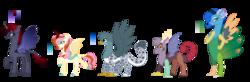 Size: 3981x1301 | Tagged: safe, artist:superponymon, oc, oc only, changepony, draconequus, griffon, hybrid, kirin, winged kirin, colored hooves, draconequus oc, griffon oc, kirin hybrid, offspring, parent:autumn blaze, parent:cosmos, parent:discord, parent:fluttershy, parent:gabby, parent:gallus, parent:pharynx, parent:princess luna, parents:autumnshy, parents:coscord, parents:gabbus, parents:lunarynx, peacock feathers, peacock tail, ram horns, scorpion tail, stinger