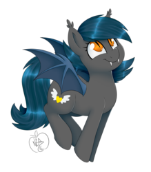 Size: 1280x1463 | Tagged: safe, alternate version, artist:notenoughapples, oc, oc:speck, bat pony, pony, bat pony oc, cute, ear tufts, fangs, female, mare, ocbetes, signature, simple background, solo, transparent background