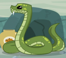 Size: 822x724 | Tagged: safe, screencap, antoine, python, snake, she talks to angel, spoiler:s09e18, animal, cookie, cookie jar, cropped, food, jar, snake treat