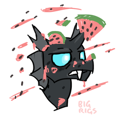 Size: 650x620 | Tagged: annoyed, artist:bigrigs, changeling, food, melon, safe, solo