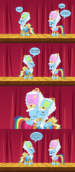 Size: 866x1964 | Tagged: safe, artist:kayman13, rainbow dash, pony, comic:the date, awww, clothes, comic, dashie antoinette, dress, female, holding a pony, holding head, love, male, mare antoinette, rainbow blitz, rainbow blitz always dresses in style, rainbow dash always dresses in style, rule 63, shrek, shrek the third, speech bubble