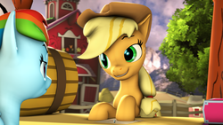 Size: 3840x2160 | Tagged: safe, artist:apexpredator923, applejack, rainbow dash, pony, 3d, barrel, paper