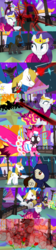 Size: 1154x5193 | Tagged: safe, alternate version, artist:christhes, pinkie pie, prince blueblood, rarity, earth pony, pony, unicorn, comic:friendship is dragons, alicorn amulet, alternate eye color, angry, blast, burnt, clothes, collaboration, comic, crossover, dress, evil grin, eyes closed, female, fight, flower, flower in mouth, frown, gala dress, garrett, glowing horn, grin, hat, horn, injured, jewelry, jumping, looking back, looking up, magic, magic beam, magic blast, male, mare, mouth hold, ninja, ponified, rose, rose in mouth, show accurate, smiling, stallion, thief (video game), tiara, unshorn fetlocks, worried