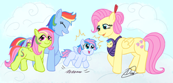 Size: 1280x615 | Tagged: artist:linadoonofficial, baby, baby carrier, baby pony, blank flank, family, female, filly, flutterdash, fluttershy, lesbian, magical lesbian spawn, oc, offspring, parent:fluttershy, parent:rainbow dash, parents:flutterdash, pegasus, pony, rainbow dash, safe, shipping