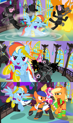 Size: 1920x3240 | Tagged: alternate version, angry, applejack, artist:christhes, bandana, clothes, collaboration, comic, comic:friendship is dragons, crossover, dragon age, dress, earth pony, eyes closed, female, fight, fire, freckles, gala dress, glare, grin, hat, isabela, laurel wreath, looking back, magic, magic circle, mare, ninja, pegasus, pinkie pie, pony, rainbow dash, raised hoof, rearing, running, safe, show accurate, smiling, wingblade