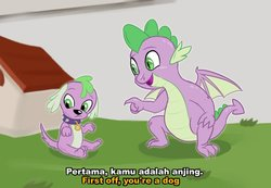 Size: 700x483 | Tagged: safe, artist:kul, spike, spike the regular dog, dog, dragon, equestria girls, doggy dragondox, doghouse, duality, indonesian, meme, text, tom and jerry, winged spike
