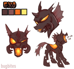 Size: 2200x2046 | Tagged: artist:bugbites, changeling, changeling oc, mandibles, oc, oc:exo, orange changeling, reference sheet, safe