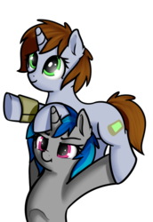 Size: 686x997 | Tagged: artist:neuro, epic wife tossing, fallout equestria, fanfic, fanfic art, fastball special, female, hooves, horn, mare, oc, oc:homage, oc:littlepip, oc only, pipbuck, pony, safe, simple background, transparent background, unicorn