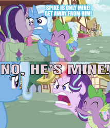 Size: 631x736 | Tagged: safe, edit, edited screencap, editor:undeadponysoldier, screencap, angel bunny, spike, starlight glimmer, trixie, pony, unicorn, all bottled up, discovery family logo, female, followup, glowing horn, he's mine, horn, hug, male, mare, polyamory, quiet, saddle bag, shipping, shipping war, sparlight, spike gets all the mares, spixie, straight, this will end in a cat fight