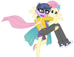Size: 4013x3104 | Tagged: safe, artist:sketchmcreations, fluttershy, microchips, cheer you on, equestria girls, equestria girls series, spoiler:eqg series (season 2), bridal carry, carrying, commission, converse, female, male, ponied up, scared, shoes, simple background, super ponied up, transparent background, vector