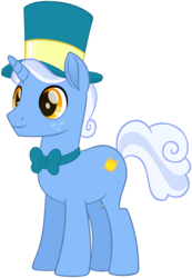 Size: 4642x6721 | Tagged: absurd res, artist:andoanimalia, freckles, hat, male, mayor, necktie, pony, rainbow roadtrip, safe, simple background, smiling, solo, spoiler:rainbow roadtrip, stallion, sunny skies, top hat, transparent background, unicorn, vector