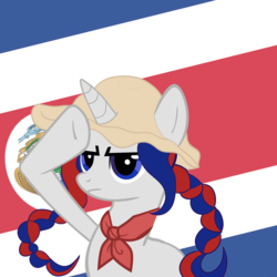 Size: 2450x2450 | Tagged: artist:archooves, base used, braid, costa rica, derpibooru exclusive, hat, nation ponies, oc, oc:panchita, ponified, pony, rainbow dash salutes, safe, salute, solo, unicorn