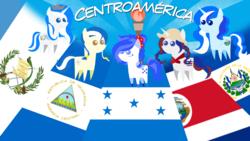 Size: 1920x1080   Tagged: safe, artist:archooves, oc, oc:anagua, oc:honduras, oc:panchita, oc:princess el salv, oc:princess guatemala, alicorn, earth pony, pony, unicorn, central america, costa rica, el salvador, flag, guatemala, honduras, nation ponies, nicaragua, pointy ponies, ponified