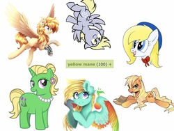 Size: 1565x1174 | Tagged: safe, artist:aegann, artist:darlimondoll, artist:lightning stripe, artist:shyshyoctavia, artist:starartcreations, artist:suikuzu, derpibooru exclusive, edit, applejack, derpy hooves, oc, oc:color dash, oc:petunia bloom, oc:treble spirit, earth pony, pegasus, pony, unicorn, derpibooru, adobe imageready, applejack's hat, bags under eyes, bandage, blank flank, blonde, blonde hair, blue eyes, bow, bust, colored wings, cowboy hat, cute, cyan coat, derp, derpabetes, determined, ear fluff, ear piercing, earring, feather, female, flower, fluffy, flying, gift art, gray coat, green coat, green eyes, grin, hair bun, happy, hat, jewelry, looking at you, loose hair, mare, meta, multicolored wings, music notes, necklace, open mouth, pearl necklace, piercing, pink eyes, prone, purple eyes, rainbow wings, sailor hat, show accurate, simple background, smiling, tags, tongue out, upside down, wall of tags, wet mane, white background, white coat, wings, yellow eyes, yellow mane